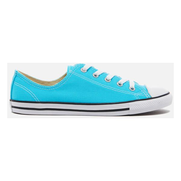 Converse Women's Chuck Taylor All Star Dainty Trainers - Fresh... ($34) ❤ liked on Polyvore featuring shoes, sneakers, blue, converse sneakers, canvas sneakers, canvas flat sneakers, blue sneakers and black and white striped shoes