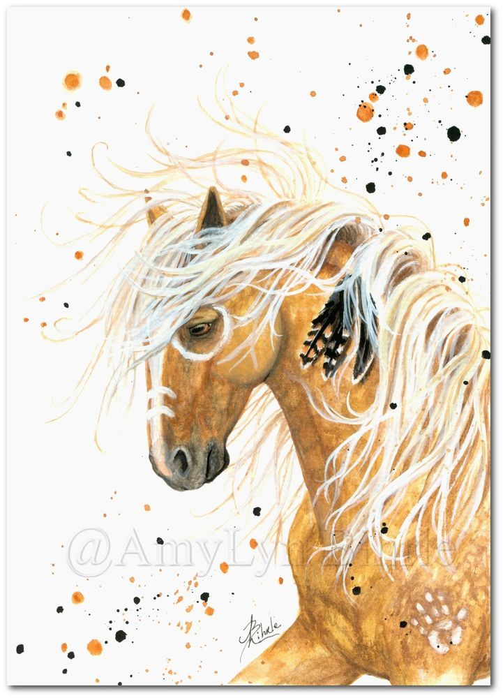 2015/04/27 #84 Majestic Palomino Horse Native Feathers War Paint- BiHrLe ArT Prints or ACEO - Etsy $9.99 USD