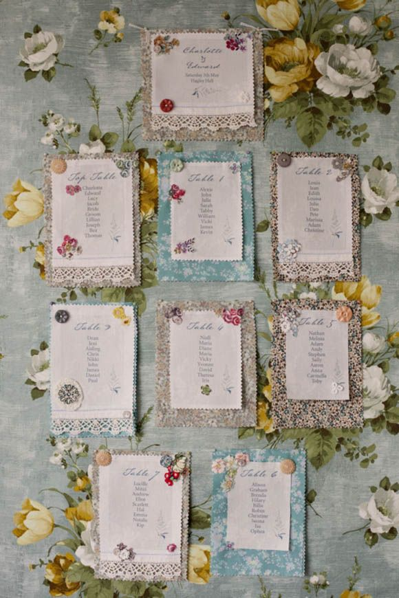 Pretty table plan. The Linen Garden by Vicky Trainor, vintage fabric wedding stationery and table decor