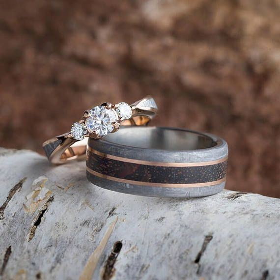 Rose Gold Wedding Ring Set featuring Genuine Meteorite and Dinosaur Bone