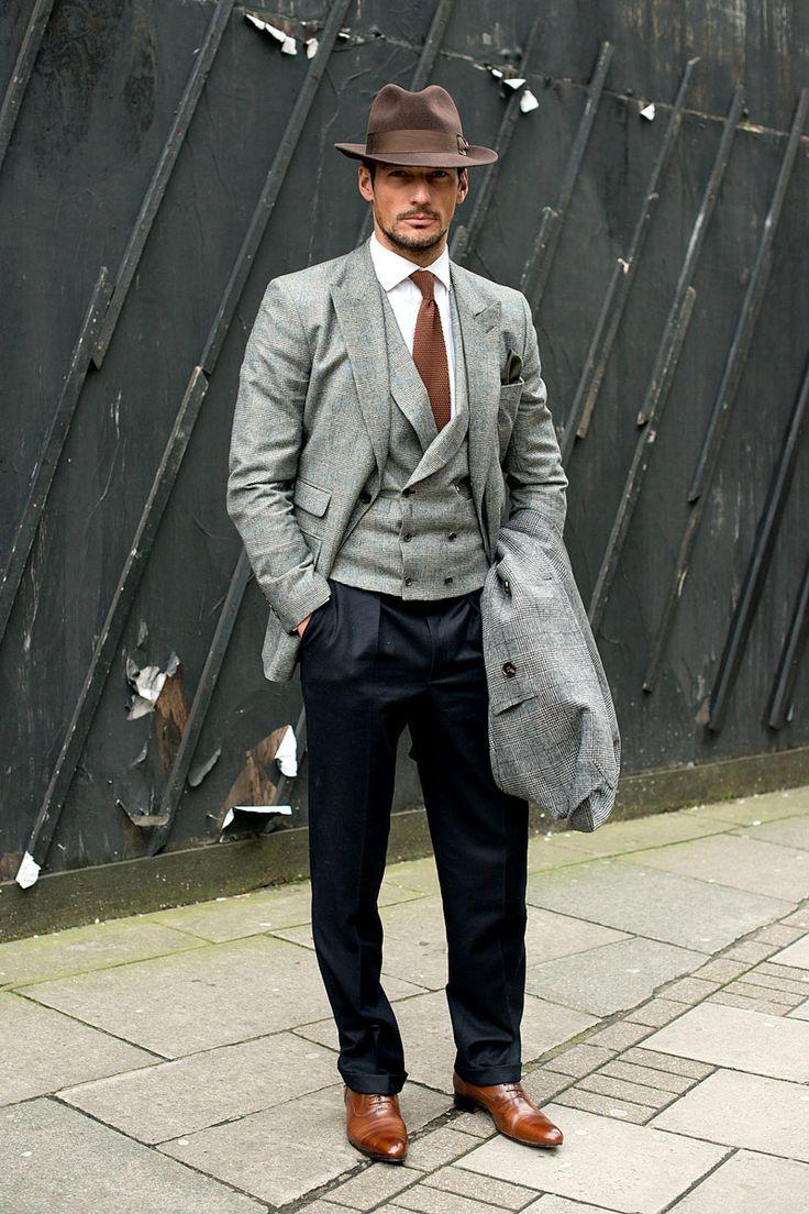 Street Style Menswear FW 13-14  Street style de Londres, David Gandy    FOTOGRAFÍA: GETTY IMAGES
