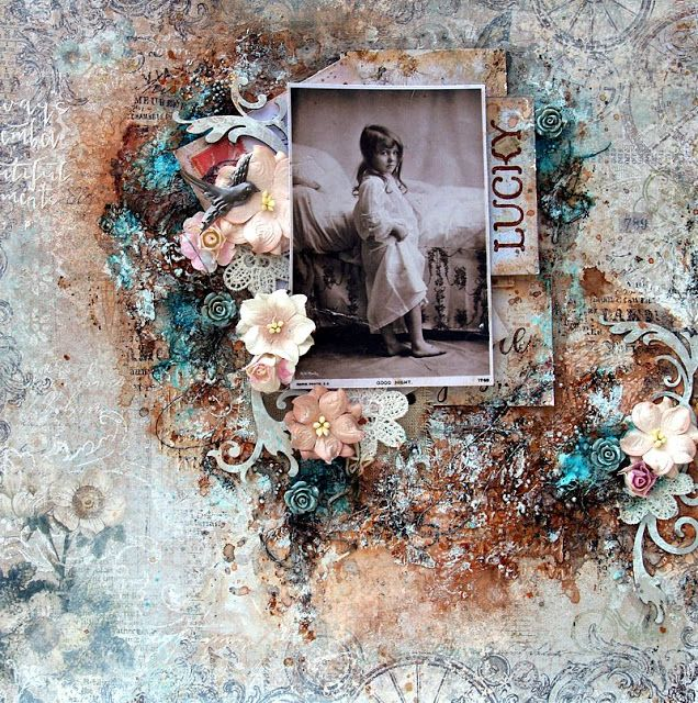 Scraps of Elegance scrapbook kits: Mixed Media Vintage Layout Video Tutorial - Anna Rogalska created this amazing layout using our Feb. Garden Gala kit and did a Youtube step-by-step tutorial for it. Subscribe to our kits and receive a new box of mixed media scrapbooking fun delivered to you each month. www.scrapsofdarkness.com