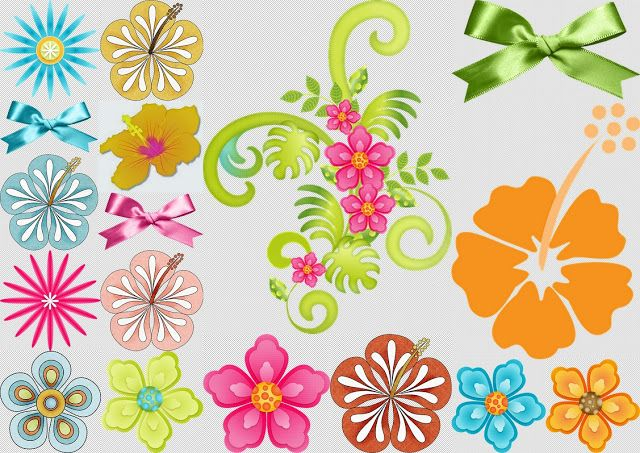 Flowers and Lace of the Clip Art Girls Hawaiian Party.