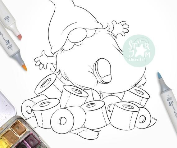 Gnome With A Toilet Paper Digi Stamp Paper Rolls Fun Coloring Page Digital Art Gifts Cute Shopping Digi Stamp Cool Coloring Pages Free Christmas Coloring Pages