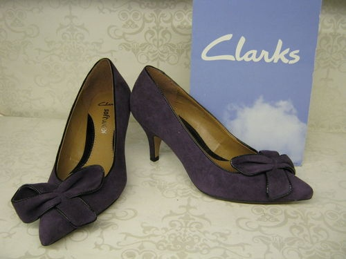 Clarks Balti Chilli Aubergine Suede Leather Smart Court Shoes   eBay