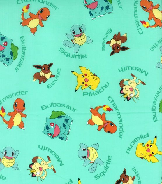 Pokemon Character Aqua Cotton Fabric