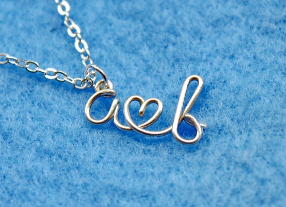 Two Initials Wire Letter Necklace