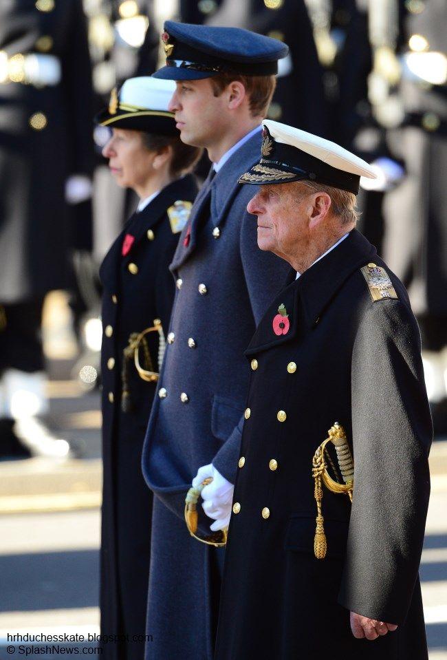 The Princess Royal, Duke of Cambridge, and Duke of Edinburgh, Remembrance Sunday, November 10, 2013