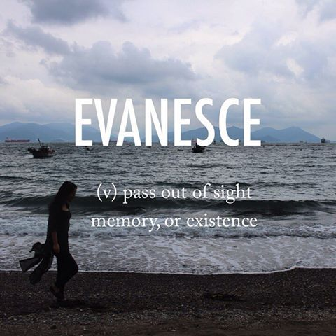 Evanesce |ˌevəˈnes| verb [ no obj. ] mid 19th century origin.: from Latinevanescere, from e- (variant of ex-)'out of' + vanus 'empty.' #beautifulwords #wordoftheday #ocean #blacksand #만성리해수욕장 #Yeosu #silhouette