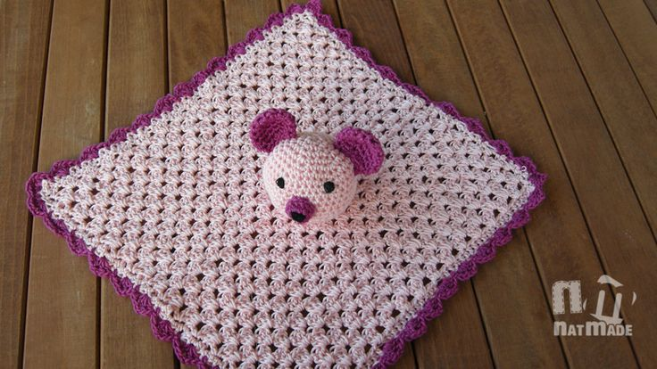 Sleepy  Bear Crochet Baby Security blanket, Crochet Snuggle Quilt,  Baby Huggy,Baby blanket,Crochet blanket by NatmadeCrafts on Etsy