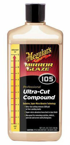 Meguiars Mirror Glaze #105 Ultra-Cut Compound utilizes exclusive, super-micro abrasive technology that effectively levels blemishes and leaves a nearly wax-ready finish. Unlike traditional compounds that leave compounding swirls, Meguiars Mirror Glaze #105 Ultra-Cut Compound leaves a deep shine with few – if any – swirl marks! A quick pass with a finishing polish will completely restore the shine and prepare the paint for wax.