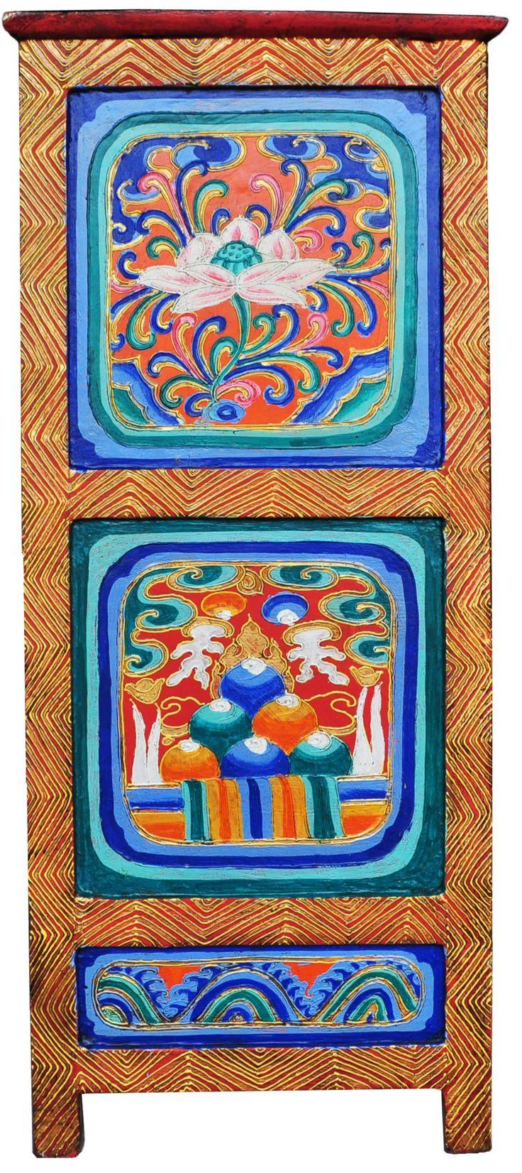 Hand Painted Tibetan Cabinet   Tibetan Furniture Hand Painted Auspicious  Symbols  Lotus