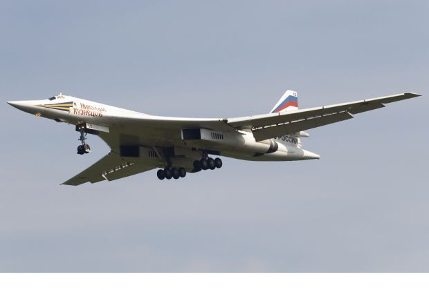 "Russian Tupolev Tu-160 ""Blackjack"" strategic bomber."