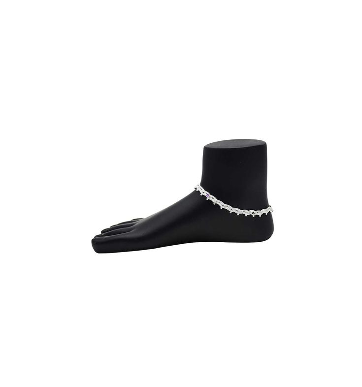 Stylish Rope Knot Designed Crystal Plated Anklets Paayal Kolusu #silverjewellery