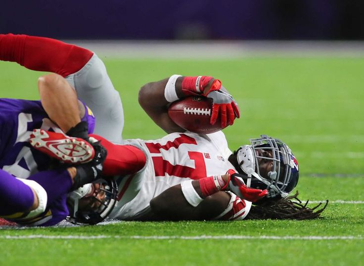 Monday Night Football: Giants vs. Vikings:   October 3, 2016  -  24 - 10, Vikings  -    Dwayne Harris of the New York Giants is tackled by Eric Kendricks of the Minnesota Vikings in the first half of the game on Oct. 3, 2016 at U.S. Bank Stadium in Minneapolis.