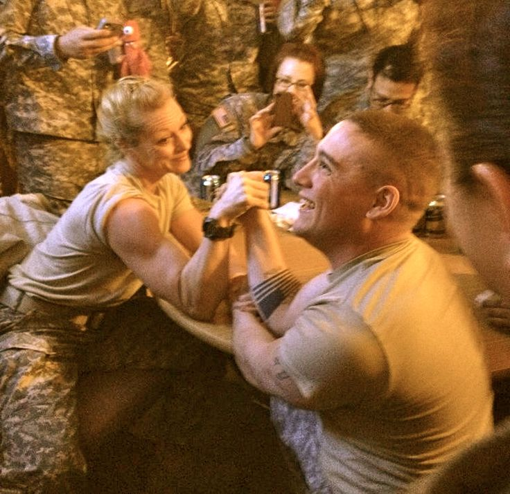 This military woman won this arm wrestling match against a ...