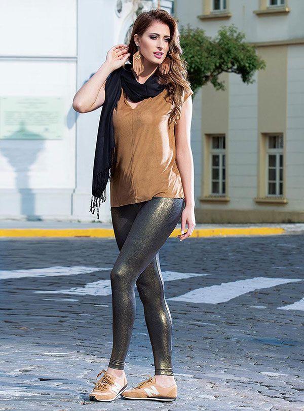 Calça Legging Montaria Recortes Casual Moda Feminina Rosa Goiaba Brilho Metalizada Trend