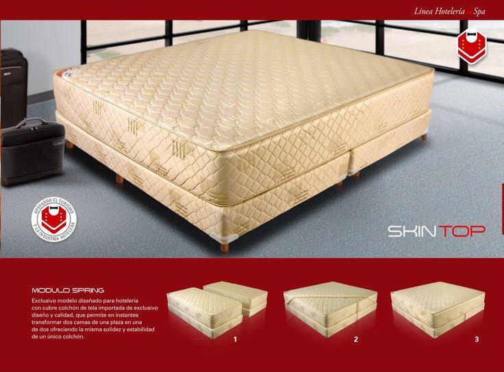 Modelo SKIN TOP - Marca GANI - Descripción: Exclusivo modelo diseñado para hotelería con cubre colchón de tela importada de exclusivo diseño y calidad, que permite en instantes transformar dos camas de una plaza en una de dos ofreciendo la misma solidez y estabilidad de un único colchón. Tela Jackard. Medidas disponibles: 160x190 / 180x90 / 200x190 / 160x200 / 180x200 / 200x200.