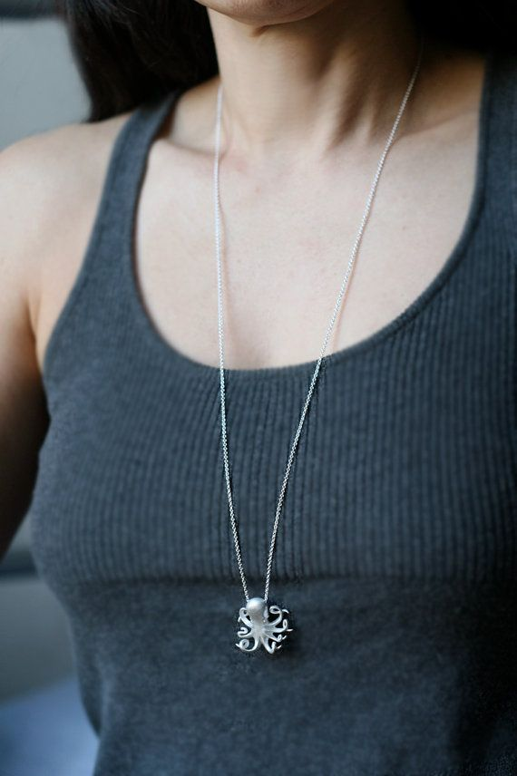 Long Baby Octopus Necklace in Sterling by MichelleChangJewelry, $242.00