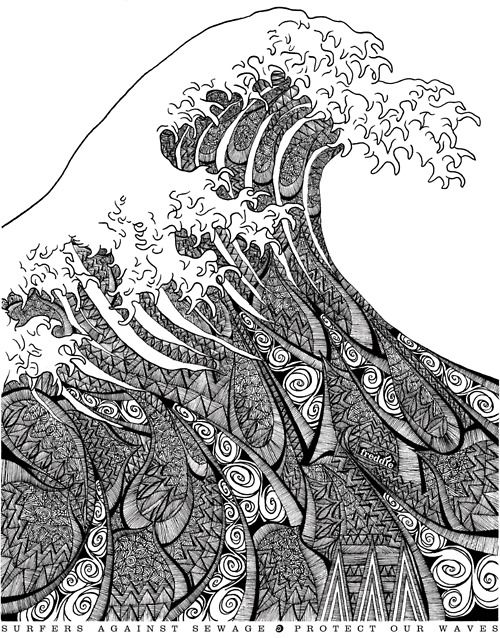 "artchipel:    Freddie Denton on Tumblr - T-shirt artwork for non-profit organization Surfers Against Sewage  Based on Hokusai's famous ""Great Wave of Kanagawa"""