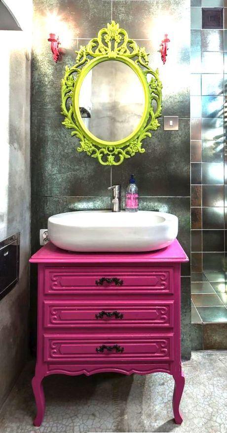 Movel Para Banheiro Azul : Movel rosa antigo banheiro colorido
