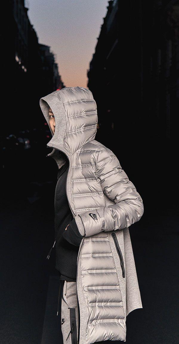 A winter-warm top layer — the long, breathable Nike Tech Fleece Aeroloft Parka.