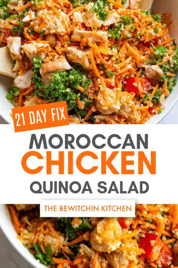 Moroccan Chicken Quinoa Salad The Bewitchin Kitchen Recipe Beachbody Meal Plan 21 Day Fix Quinoa Recipes Salad Recipes Healthy Easy