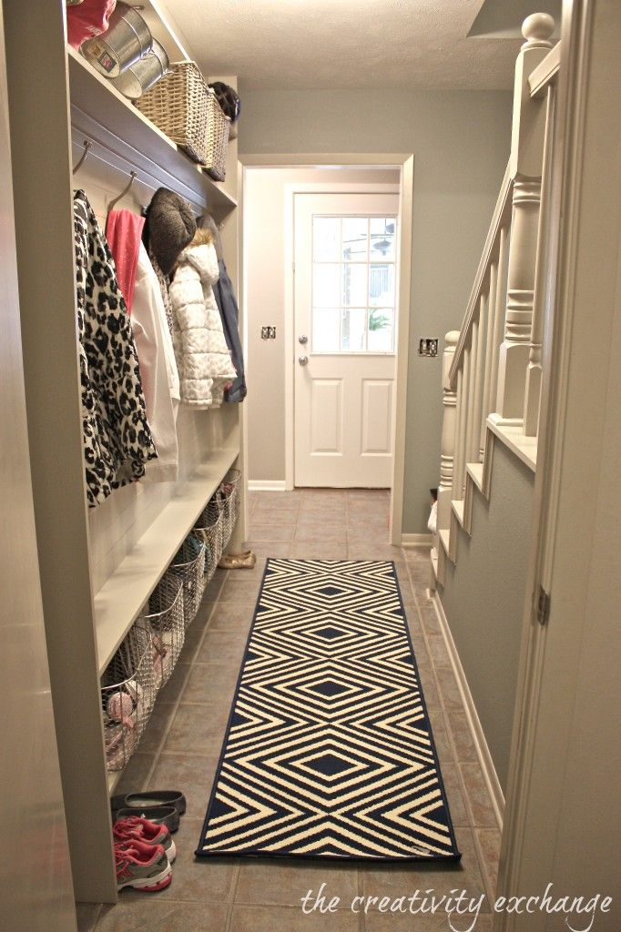 Tutorial for making a narrow hallway built-in mudroom. Only 5 inches needed to do this (The Creativity Exchange)