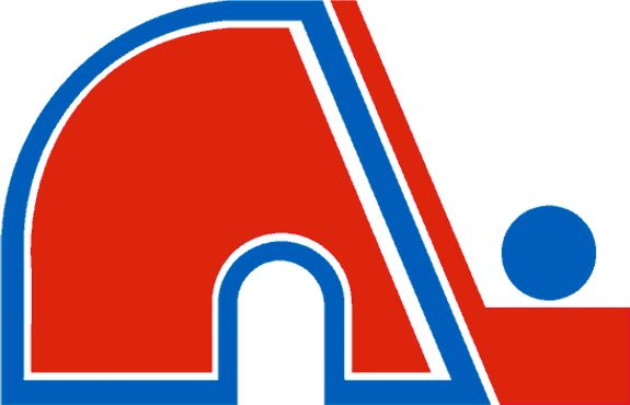 Quebec Nordiques Primary Logo (1986) - A red N next to a hockey stick with a blue hockey puck, formed together as the letter N as well as an igloo