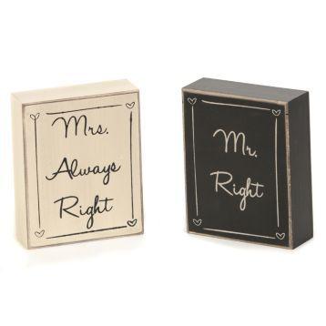 Mr & Mrs Right Plaques #WeddingIdeas #Kirklands