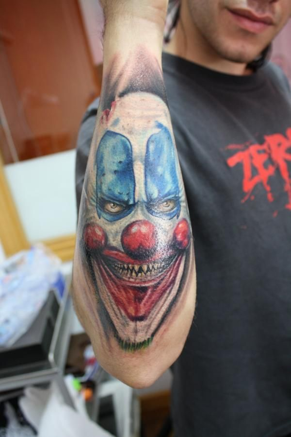 happy clown tattoo full arm happy clown tattoos designs full