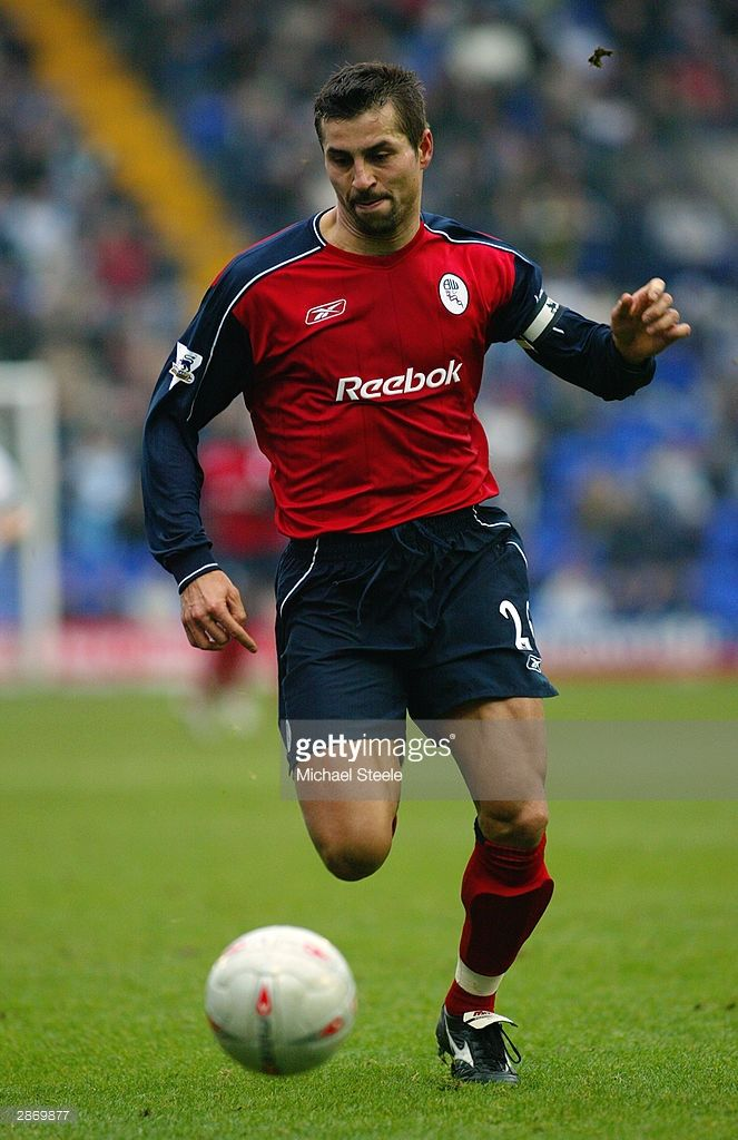 Emerson Thome of Bolton Wanderers brings the ball out of defence during the FA Cup Third Round match between Tranmere Rovers and Bolton Wanderers held on January 3, 2004 at Prenton Park, in Birkenhead, England. The match ended in a 1-1 draw.