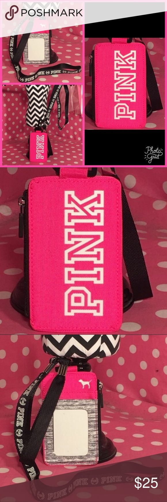 VS Pink lanyard id holder Victoria secret pink lanyard ID holder right up with him pink on one side tomorrow great early and their lack of a strap new tags in packaging PINK Victoria's Secret Accessories Key & Card Holders