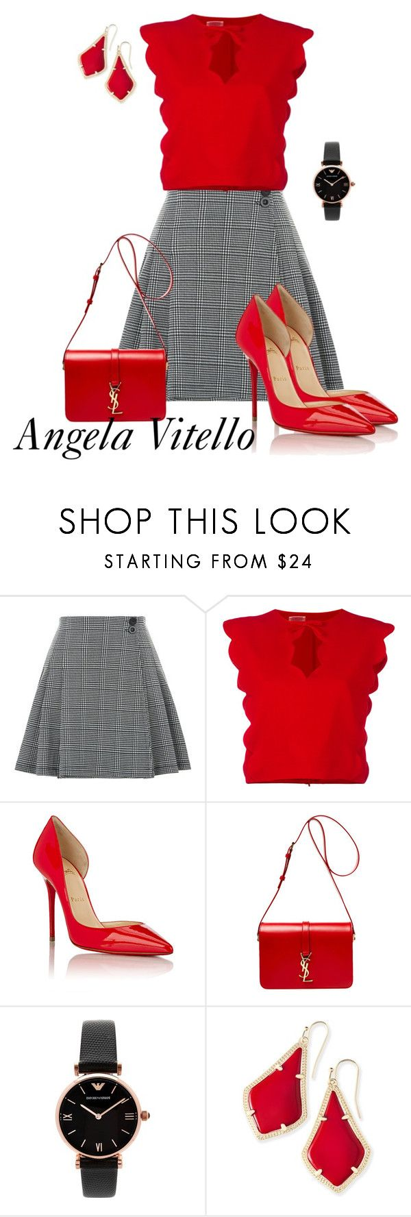 """Untitled #1013"" by angela-vitello on Polyvore featuring Giambattista Valli, Christian Louboutin, Yves Saint Laurent, Emporio Armani and Kendra Scott"