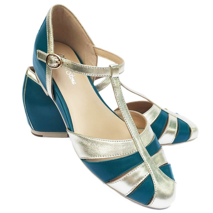 Charlie Stone Aurora Shoes - Teal/Gold