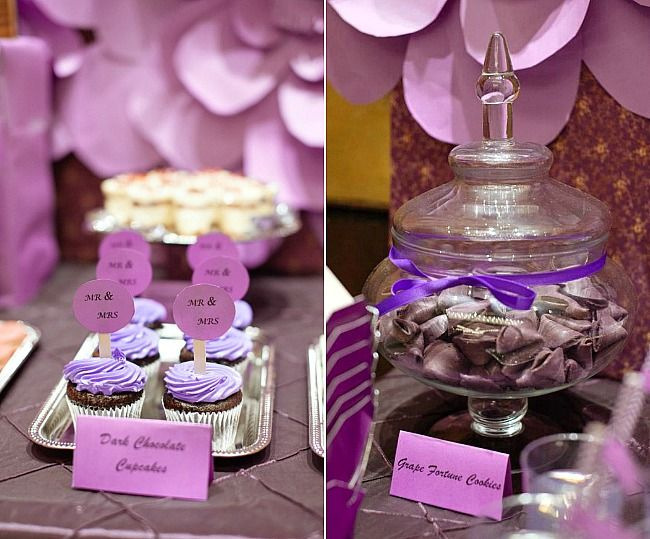 ideas for a purple dessert table for weddings or bridal showers