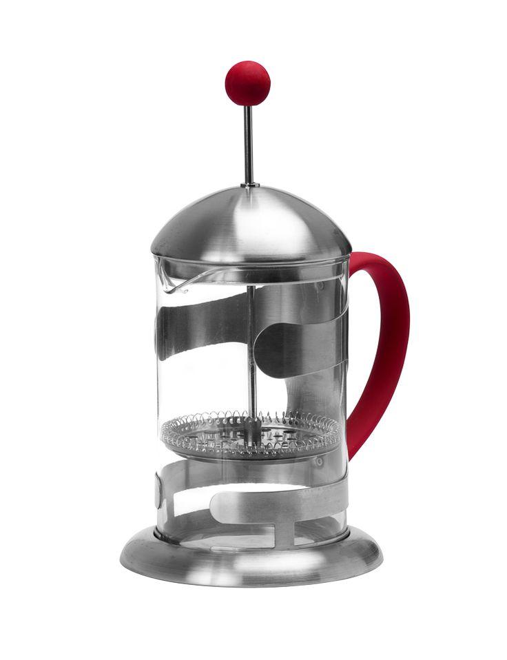 Cafetera Push acero inoxidable.  Color rojo / acero.  Marca Nordika
