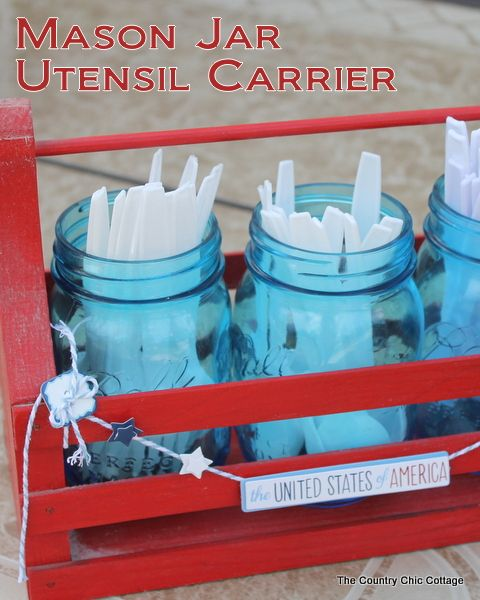 Make this mason jar utensil carrier in just 10 minutes or less with a great video tutorial! Perfect for the 4th of July or any summer occasion! #bhgsummer