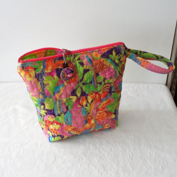 Quilted Exotic Parrot Print in Hot Pink Cosmetic Bag/Small Quilted Zippered Bag/Handmade Quilted Bag/Small Cosmetic Bag/Vividly Colored Bag