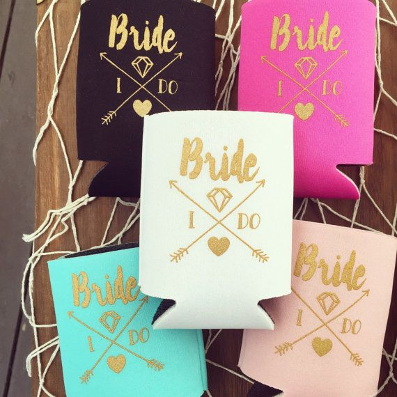 Bride Drink Cooler Boho Bachelorette Party Favors White Gold Arrows Gift Metallic Bottle Can Beer