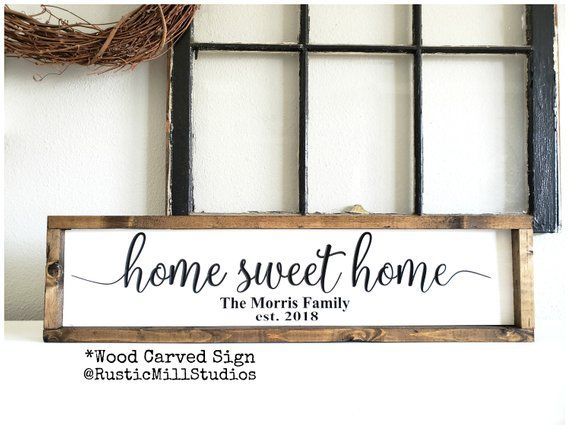 Home Sweet Home Sign | PERSONALIZED Sign | Above Couch Decor | Home Sweet Home Wood Sign | Family Room Wall Decor
