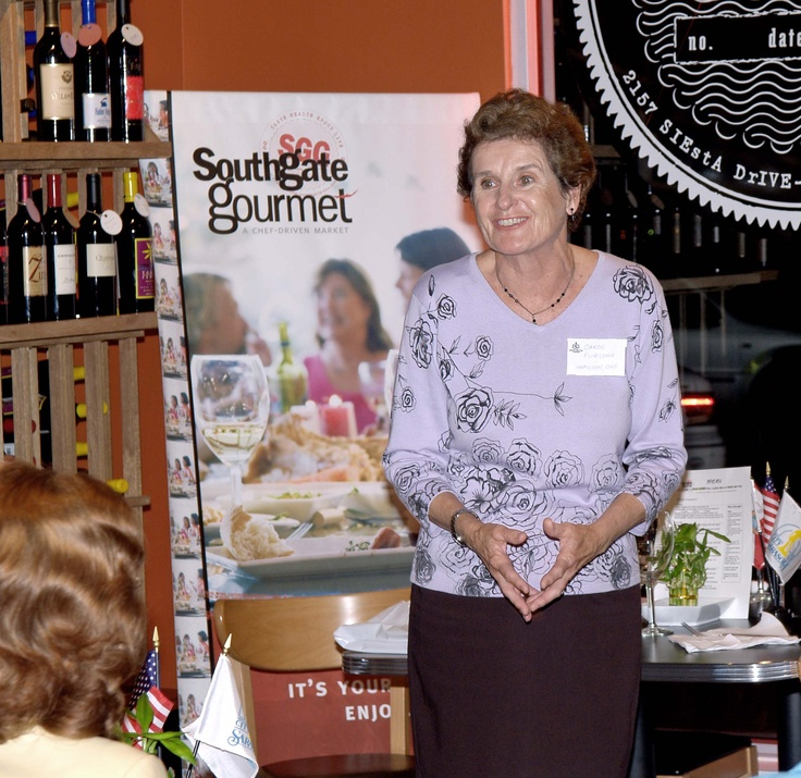 Carol Furlong, Sarasota Sister Cities director for relations with our twinned partner of Hamilton, Ontario, Canada, gives a report at the January 2006 Sarasota Sister Cities New Members orientation at Southgate Gourmet in Sarasota