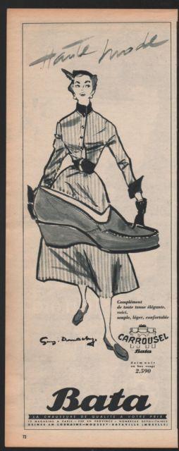 "Vintage Bata Advertisement: ""Haute Mode"", France, 1954 #batashoes #bata120years #advertising"