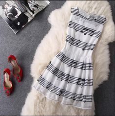 """Item Type: Dress Material: Organza Sleeve Length: Sleeveless Collar: Round Neck Pattern: Music Notes Style: Fashion Color: Photo Color Size: XS (US size) Bust: 31-33"""", Waist: 23-25"""", Hips: 33-35"""" S (U"""