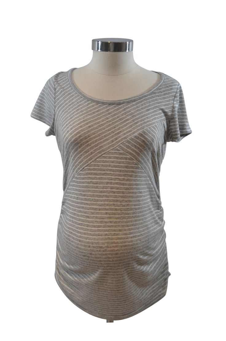 Gray & White Short Sleeve Top by Jessica Simpson