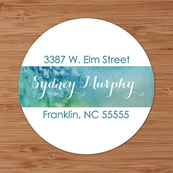 Watercolor Blues  Custom Personalized Address Labels or Stickers