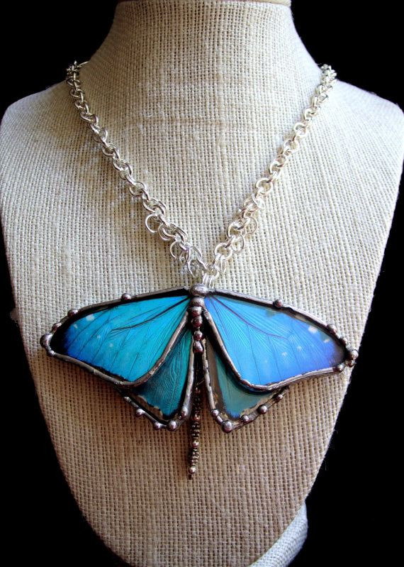 Blue Butterfly Necklace Real Butterfly by DebrasDivineDesigns