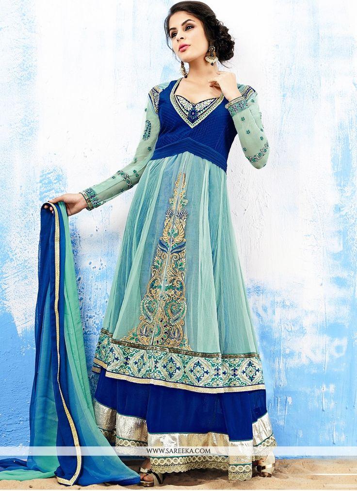 Pristine Blue Embroidery Work Net Anarkali Suit