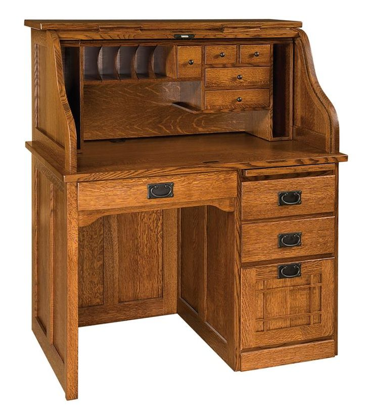 Amish Mission Single Pedestal Rolltop Desk