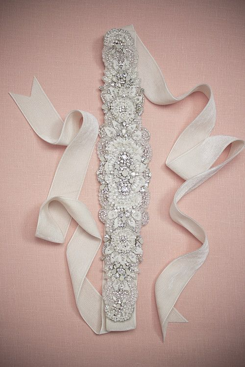 #Bridal #Accessories // Aisle Perfect. Lovely velvet bridal belt with chiffon petals mixed with crystals, and pearls.
